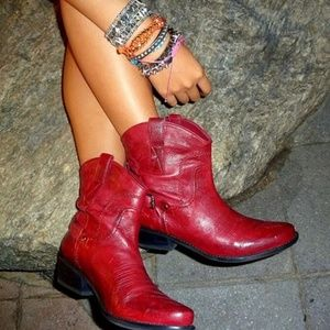 Franco Sarto Waco Red Leather Cowboy Ankle Boots